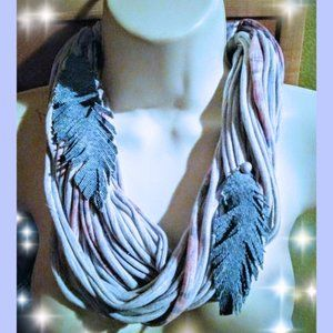 T Shirt and Denim Leaves Infinity Scarf